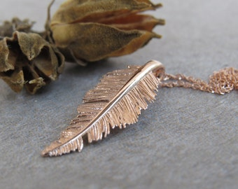 Rose gold pendant necklace, 14k gold feather necklace, unique 14k gold feather pendant, delicate gold leaf necklace.