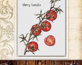 Tomato cross stitch pattern food cross stitch kitchen cross stitch vegetable cross stitch garden cross stitch floral cross stitch chart