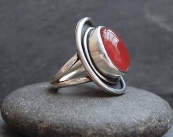 Handmade Carnelian and Sterling Silver Ring.