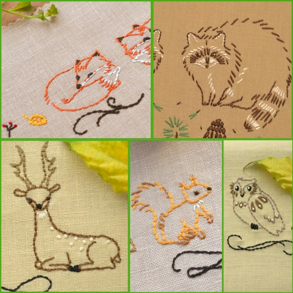 Hand embroidery patterns set, woodland animals, embroidery pattern ...