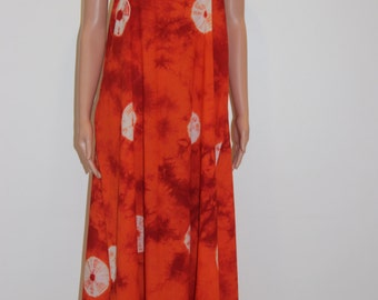 BEACH DRESS/Summer ware/Soft Cotton/Bright Red And Orange/Stunning Tie And Dye Fabric