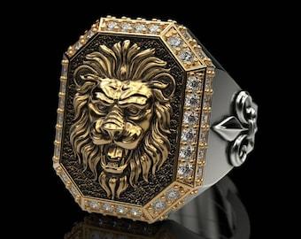 Lion ring, Fleur de lis, heraldic lily, royal, all-seeing eye, king, stones, LARP, yellow gold, white gold, sterling silver