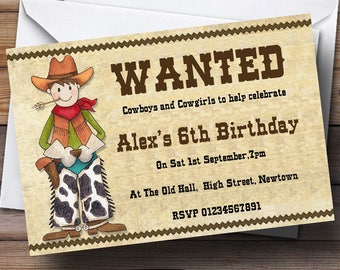 Cowboys And Cowgirls Theme Personalised Birthday Party Invitations