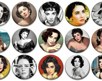 "2-1/4"" -   ELIZABETH TAYLOR  -  Lot of 15 Buttons - Pin Back Button Badge"