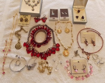 Vintage sets necklaces/pierced earrings, large variety, choker short, one with bracelet, one with bracelet & ring, variety