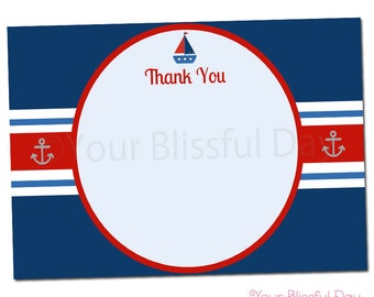 PRINTABLE Nautical Baby Shower Thank You Cards #207