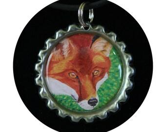Red Fox necklace, fox lovers gift, gift for girl, gift for daughter, bottle cap pendant, fox art pendant,woods jewelry,animal art, Item #FN1