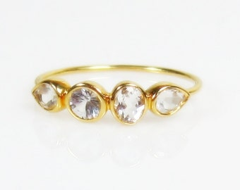 Diamond Clear White Topaz Sterling Silver Ring - Made to Order, gemstone band