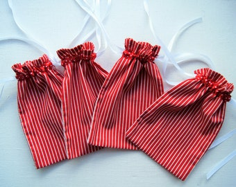 "Red Cotton Bags. Set of 4. Fabric Gift Bags. Jewelry Bags. Cotton Pouch. Drawstring gift bags. Birthday party bag. 7"" X 4.5"""