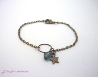Bronze pearl bracelet blue duck and Star