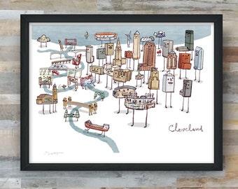 Cleveland- Bridges and Skyline art print