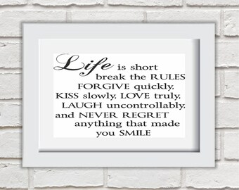 Life Is Short Framed Quote Print Mounted Word Art Wall Art Decor Typography Inspirational Quote Home Gift