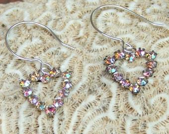 Heart shaped Swarovski charm earrings