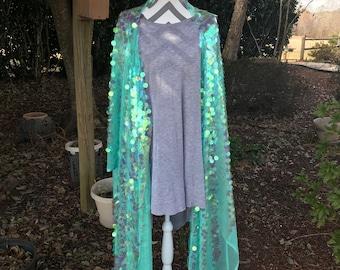 Mint Sequin Festival Boho Free Spirit Gypsy Soul Rave Summer Blue Kimono