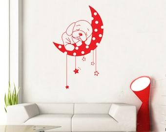 Puppy Dog Sleeping On Moon Stars Kids Nursery----art Graphic Vinyl wall decals stickers home decor