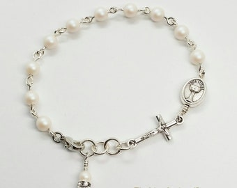 Girl's Communion Chalice and Jesus Greek Monogram Pearlescent White Swarovski Pearls Rosary Bracelet Handmade First Communion Catholic Gifts