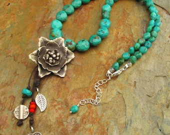 Turquoise Irish Linen Thai Hill Tribe Silver  Necklace - Bohemian Bloom