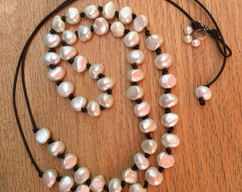 Hand knotted pearl and leather necklace