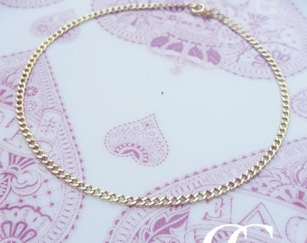Fine 9ct Yellow Gold Curb Anklet or Bracelet 9.5''