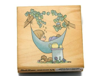 Precious Moments Stamps Boy In Hammock Stampendous Stamps Summer Themed Cute Rubber Stamps Watercolor Stamps Cardmaking Paper and Ink Stamps