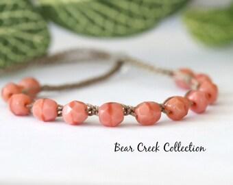 Pink, Boho Beaded Bracelet, Salmon Pink, Faceted Glass Beads, Stacking, Layering, Crochet Jewelry, Boho Style, Bohemian, Cord Bracelet