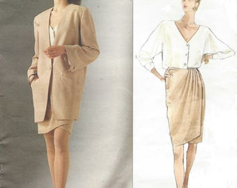 1990s Donna Karan Womens Oversized Jacket, Wrap Skirt & Top Vogue Sewing Pattern 2512 Size 8 10 12 Bust 31 1/2 to 34 FF Vogue DKNY Pattern