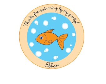 20 Birthday Stickers - Birthday Party Stickers  - Party Tags - Favor Tags - Birthday Favor Tags - Birthday Party - Thanks for Swimming By