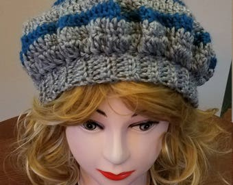 Blue and Grey Slouchy Beret Hat - Ready to be Shipped