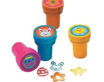 Self Inking Easter Stampers ~ Bunny Rabbit Stamp ~ Easter Egg Stamper ~ Chick Stamp ~ Flower Stamper ~ Kids Crafts Easter Plastic Stampers