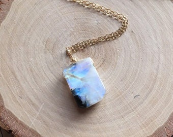 Moonstone Necklace - Moonstone Jewelry - Crystal Necklace - June Birthstone Necklace - Gift For Her - Raw Moonstone Necklace