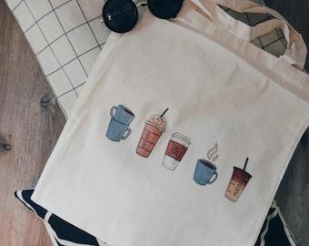 Canvas tote bag coffee starbucks
