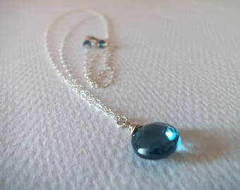 London Blue Topaz Gemstone Handmade Necklace with Sterling Silver