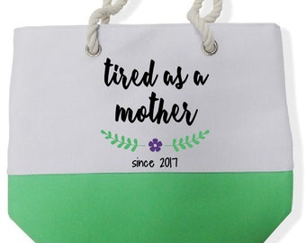 Mother's Day Color Block Beach Tote Bags