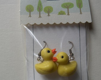 Yellow bathtub duck earrings, cute and round