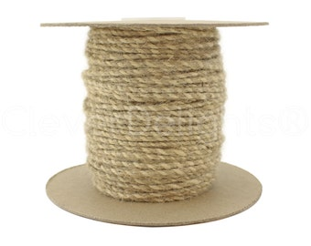 100 Yds - Ivory / Natural Twisted Jute Twine - 3mm Premium Twine - Craft Bulk String Rope Cording - Gift Wrap, Packaging, Home and Garden