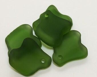 Ridged Freeform Olive Sea Glass Pendants- recycled sea glass beads- cultured sea glass beads- recycled glass pendants- frosted glass beads