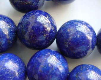 1/2 Strand, 13.5-14mm, Midnight Blue Lapis Lazuli Round Smooth Beads, B-0026