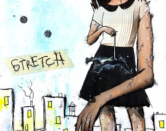 Stretch | Original Art | Mixed Media Collage | Letter Sized | A Giant Woman Stretches a Man's Weiner | Girl Power