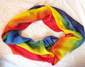 Bright Rainbow Striped Infinity Silk Scarf ~Hand Dyed ~ Waldorf Inspired~