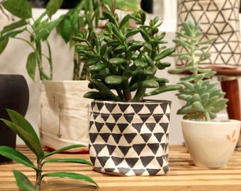 Hand painted flower pot cover - filled triangles