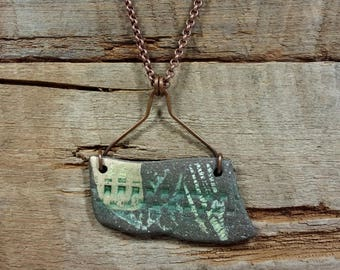 Pottery Shard PENDANT Hand Made Necklace of Reversible Tumbled Pottery Shard, Copper Wire Wrapped, Copper Chain with Lobster Claw Closure
