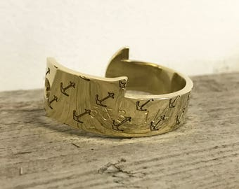 Engraved Lobster Gauge Cuff