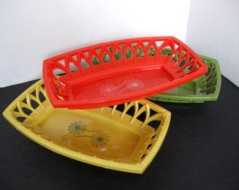 Set of Three (3) Vintage Plastic Food Baskets/Trays - Gold - Orange - Avocado Green