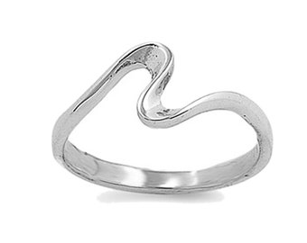 Women Sterling Silver Wave Ring 7mm / Free Gift Box(SNRP141363)