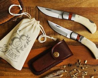 SET OF 9 - Groomsmen Bone Handle Knife with Flat Leather Sheath - Personalized Groomsmen Knives - Best Man Gifts - Quality Lock Back Knife