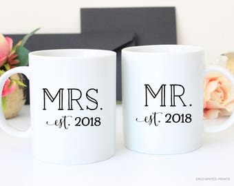 Personalized Mugs Mr and Mrs Mugs, Mrs and Mrs Mugs, Mr and Mr Mugs, Newlyweds Gift, Couples Mugs, Anniversary Mug Set, Wedding Gift Mug Set
