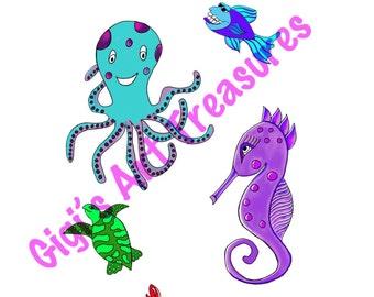 Clear Acrylic Stamps - Gigi's Art Treasures© - Ocean Friends