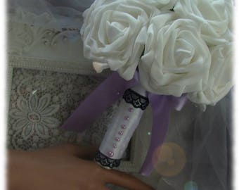 bouquet of white roses with purple bow, Black Lace and purple half pearls