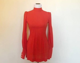 SHOP SALE Vintage 60s Orange Puff Shoulder Long Sleeve Mod Mini Dress S
