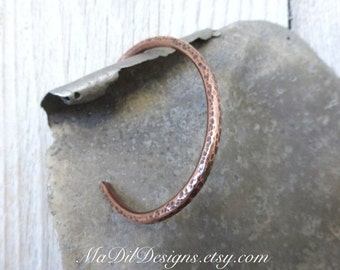Copper Round Cuff Bracelet Hand Formed Sleek Simple Lines Hammer Texture Copper Bracelet